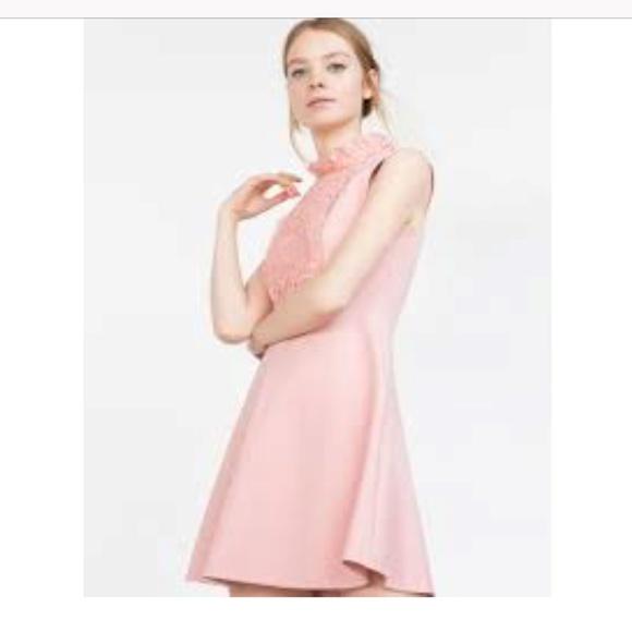 be22f6d996d88 Zara Dresses | Sleeveless High Neck Ruffle Lace Dress Pink S | Poshmark